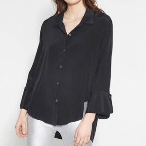 Halston Heritage Wise Cuff Washed Silk Shirt New